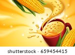 corn soup 3d illustration with... | Shutterstock .eps vector #659454415