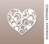 heart for laser cutting.a round ... | Shutterstock .eps vector #659458612
