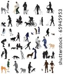 people and their dogs collection | Shutterstock .eps vector #65945953