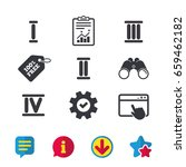 roman numeral icons. 1  2  3...