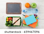 lunch box with vegetables and... | Shutterstock . vector #659467096
