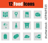 food icon set. green on gray... | Shutterstock .eps vector #659469535