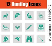 set of hunting icons. green on...