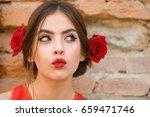 curious woman or cute girl ... | Shutterstock . vector #659471746
