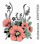 flower motif sketch for design  | Shutterstock .eps vector #659475535