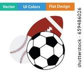 sport balls icon. flat color...