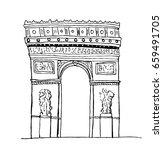 arc de triomphe  paris. hand... | Shutterstock . vector #659491705