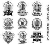 retro beer pub vector emblems....   Shutterstock .eps vector #659501032