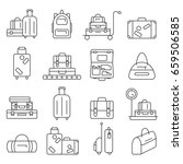 luggage icon set.  backpack ... | Shutterstock . vector #659506585