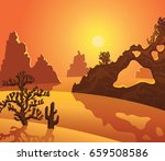 silhouette of cactuses and...