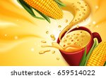 corn soup 3d illustration with... | Shutterstock . vector #659514022