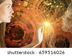 bright image of girl touching... | Shutterstock . vector #659516026