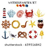 watercolor nautical set with... | Shutterstock . vector #659516842