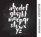 alphabet poster  dry brush ink... | Shutterstock .eps vector #659533708