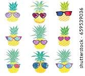 pineapple with glasses  vector  ... | Shutterstock .eps vector #659539036