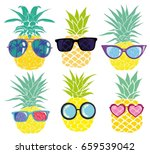 pineapple with glasses  vector  ... | Shutterstock .eps vector #659539042