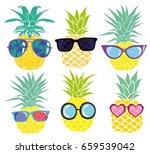 pineapple with glasses  vector  ...   Shutterstock .eps vector #659539042