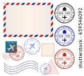 international mail envelope... | Shutterstock . vector #659546092