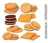 decorated cookies in cartoon...   Shutterstock .eps vector #659562265