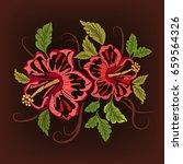 hawaii symbol hibiscus... | Shutterstock .eps vector #659564326