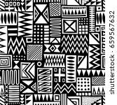 black and white vector seamless ... | Shutterstock .eps vector #659567632
