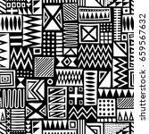 black and white vector seamless ... | Shutterstock .eps vector #659567632
