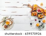 summer snack  sandwiches with... | Shutterstock . vector #659570926