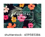 tropical vector postcard design ... | Shutterstock .eps vector #659585386