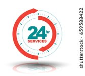 24 hours services  arrow sign.... | Shutterstock .eps vector #659588422
