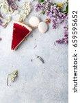 berry cheesecake slice on light ... | Shutterstock . vector #659595652