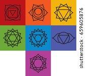 set of seven chakra symbols ... | Shutterstock .eps vector #659605876