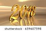 gold 2018 celebration number ... | Shutterstock . vector #659607598