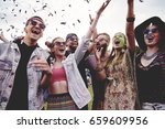group of friends having fun at... | Shutterstock . vector #659609956