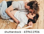 young sensual couple hugging in ... | Shutterstock . vector #659611906