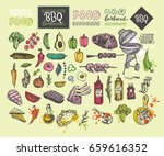 big hand drawn doodle barbecue... | Shutterstock .eps vector #659616352