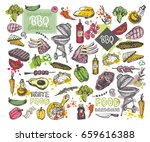 big hand drawn doodle barbecue... | Shutterstock .eps vector #659616388