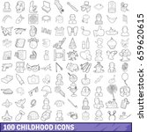100 childhood icons set in... | Shutterstock . vector #659620615
