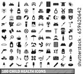 100 child health icons set in...   Shutterstock . vector #659620642