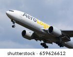 Small photo of FRANKFURT,GERMANY-APRIL 29: AeroLogic Boeing 777F lands at airport on April 29,2017 in Frankfurt,Germany.AeroLogic is a German cargo airline based in Schkeuditz near Leipzig.