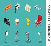 isometric cinema icons with... | Shutterstock .eps vector #659634802