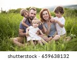 an happy family having fun in... | Shutterstock . vector #659638132