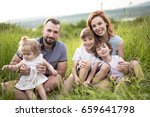 an happy family having fun in... | Shutterstock . vector #659641798