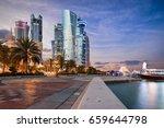Stock photo doha city center and corniche street at sunset qatar 659644798