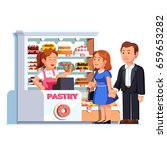 cashier girl at pastry checkout ... | Shutterstock .eps vector #659653282