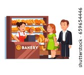 ashier girl at bakery checkout ... | Shutterstock .eps vector #659654446