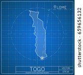togo blueprint map template... | Shutterstock .eps vector #659656132