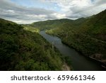 river and mountain above... | Shutterstock . vector #659661346