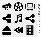 multimedia icons set. set of 9... | Shutterstock .eps vector #659666032