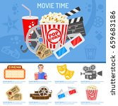 cinema and movie time concept... | Shutterstock .eps vector #659683186
