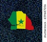 senegal map flag on hex code 3d ... | Shutterstock . vector #659687056